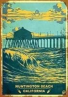 ハンティントンビーチレトロヴィンテージメタルファーム装飾的な国の家の装飾サインギフト