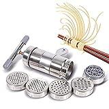 HAOGUO Máquina para Hacer Pasta, Manual, Fideos, portátil, Herramientas Espaguetis con 5 moldes de presión, Mango ergonómico el hogar, Restaurante, Camping, Viajes