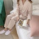FLORVEY Pijama Conjuntos de Trajes Suaves de Dos Piezas para Mujeres Elegantes Ropa de Dormir Dulce con Lunares Pijamas Sueltos de Invierno Bonitos cálidos Ropa para el hogar