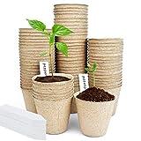 3'' Peat Pots,NANKINGFANGAO 80 Pack Seed Starter Pots Kits,Nursery Pots with Bonus Labels