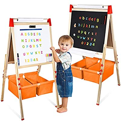 Fixget Kids Wooden Easel with Paper Roll, Double-Sided Whiteboard & Chalkboard Standing Easel, Art Easel with Numbers Magnetic Accessories Art and Craft Set Painting Drawing Gifts for Toddlers