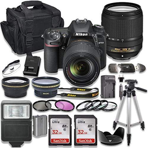 Nikon D7500 DSLR Camera with AF-S 18-140mm VR Lens + 2 x 32GB Card + Accessory Kit