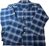 ポロ ラルフローレン Polo Ralph Lauren パジャマ 紳士 メンズ 長袖 ポニー刺繍 チェック フランネル 秋冬 ブルー (L)