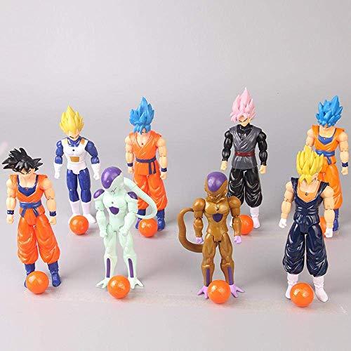 SXXYTCWL Ball 8 Zeichen Figuren Kakarotto Vegeta Freezer mit leuchtender Dekoration Statue Dekoration der Anime-Charakter Toy Collection jianyou