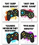 Video Game Art Print Watercolor Typography Cardstock-Colorful Gaming Themed Canvas Wall Art (8'x10'x4pieces ,Unframed) - gamer wall art,Gamer, Teen boy bedroom, game room