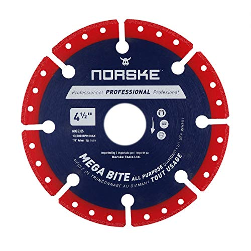 Norske Tools NDBS335 4.5 inch Mega Bite Diamond Vacuum Brazed Cutoff Wheel...
