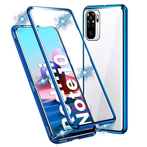IEMY Funda para Xiaomi Redmi Note 10, Adsorción Magnética Parachoques de Metal con 360 Grados Protección Case Cover Transparente Ambos Lados Vidrio Templado Cubierta (Azul)