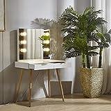 white vanity desk with mirror