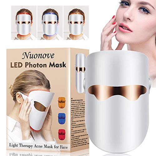 Lichttherapie Maske Akne, LED Gesichtsmaske, Anti Akne Maske, Anti Falten Maske, Whitening Mask, Anti Blemish Solutions, Photonen-Therapie Hautverjüngungs LED Gesichtsmaske mit Blau/Rot/Orange Licht