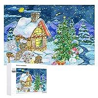 雪の降る夜のクリスマス 500ピースのパズル木製パズル大人の贈り物子供の誕生日プレゼント1000ピースのパズル