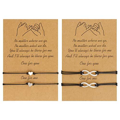 QINREN 2PCS Friendship Bracelets, Handmade Bracelets Promise Distance Matching Bracelets Boho Braided Rope Bracelets for Best Friends Couple Mom Daughter Women Mens Teen Girls