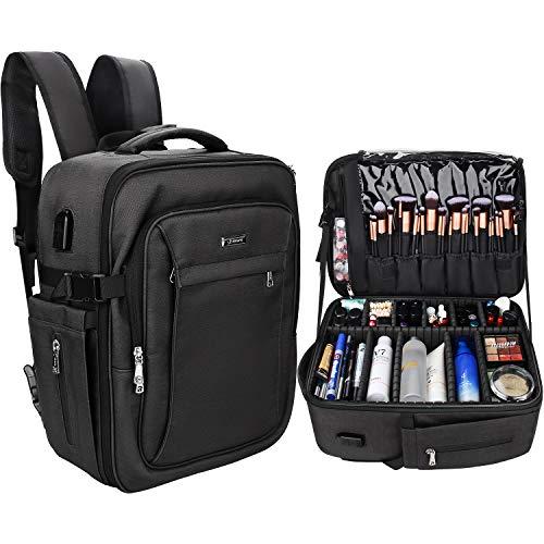 Makeup Backpack, Relavel Professional Makeup Case Extra Large Travel Train Case Makeup Bag for Women Cosmetic Organizer, Makeup Brush Storage Holder, Makeup Artist Kit, with Adjustable High Dividers