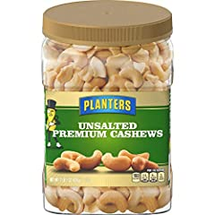 One 33 oz. container of Planters Unsalted Premium Cashews Smooth taste and satisfying crunch in every handful of Planters premium cashews 160 calories per serving Cholesterol-free and trans fat-free with 13 g. total fat Unsalted for pure, nutty flavo...
