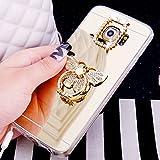 Galaxy S5caso, [con purpurina TPU caso] ikasus Crystal Rhinestone Bling Diamond Glitter caso de maquillaje espejo de goma anillo soporte espejo–Carcasa de TPU para Samsung Galaxy S5/S5Neo,