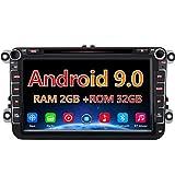 AWESAFE Android 9.0 8 Pulgadas Radio Coche con Pantalla 2 DIN para VW, Autoradio 2GB+32GB para VW con WiFi/GPS/Bluetooth/RDS/CD DVD/USB/FM Am/SD, Admite Mandos del Volante y Aparcamiento