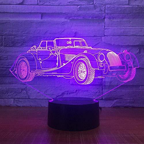 LED 3D Ilusión luz de noche de inteligente Sedan luxury decoración del hogar y para codormir Con interfaz USB, cambio de color colorido