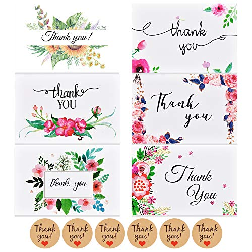 48 x Dankeskarten (48 Muster) mit Umschläge und Sticker im Set, Thank you Cards Klappkarten Grußkarten für Hochzeit Geburtstag Baby Taufe Firmung Party u.m. von ipow®