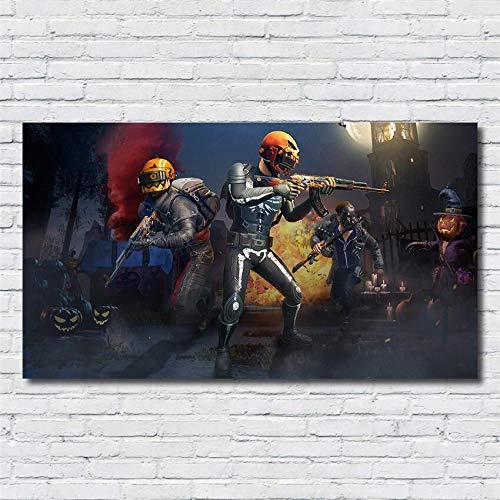 PUBG 3D Online FPS Gioco competitivo tattico Personaggio Poster Soggiorno Decorazioni per la casa Scuola Materna Camera dei Bambini Arte della Parete della Tela di Canapa Pittura 50 * 90 cm