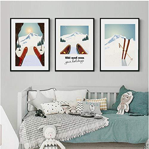 Vintage Bild auf Leinwand Wintersport Poster Ski Kunstdruck Poster Wandbilder,Skifahren Poster Retro Dekoration 42X60Cmx3 / Rahmenlose
