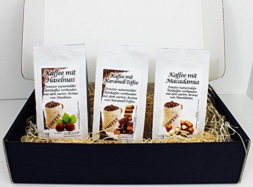 Geschenk Set Aromatisierter Kaffee Gemahlen 3 x 200 g (Haselnuss, Karamell und Macadamia)