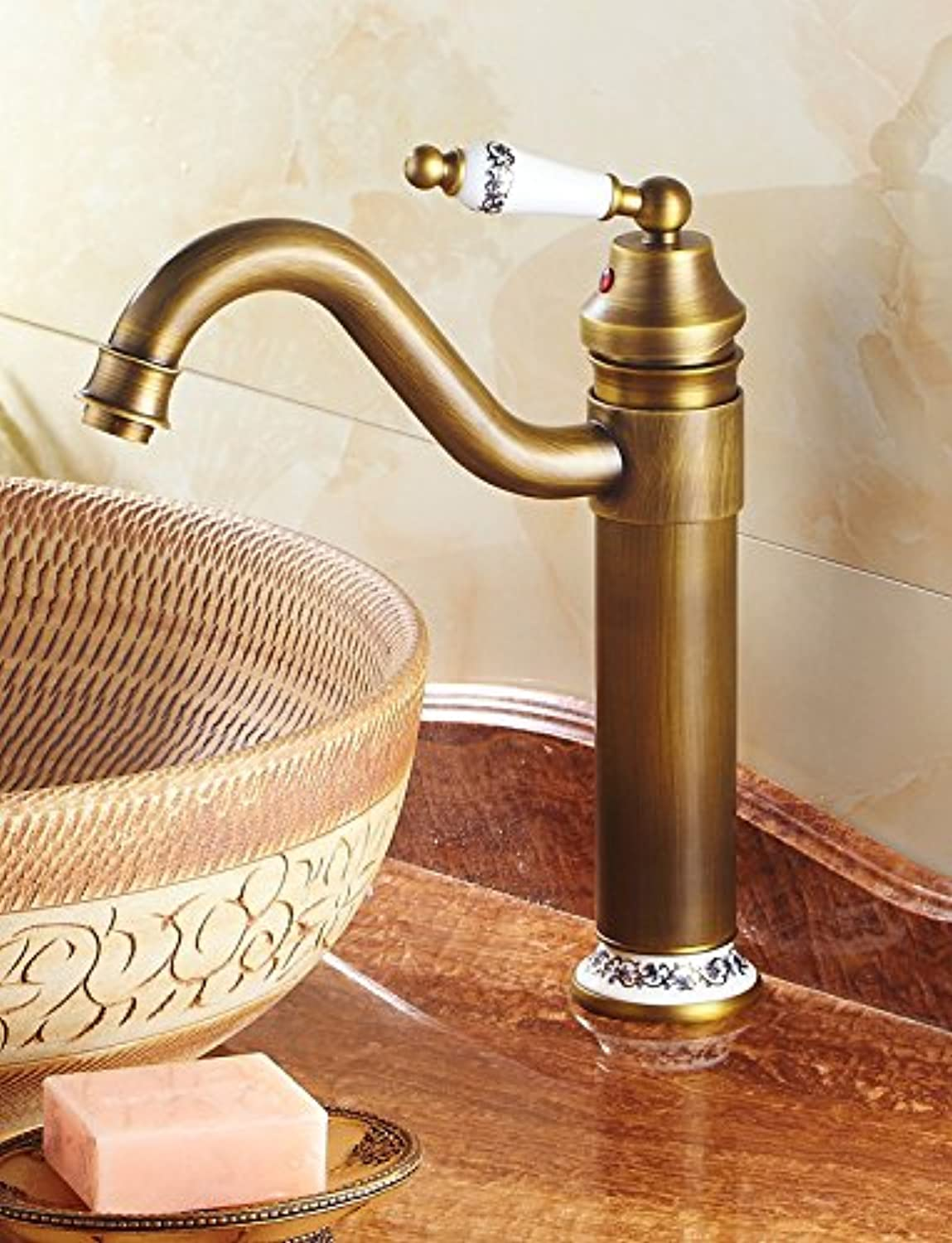Commercial Single Lever Pull Down Kitchen Sink Faucet Brass Constructed Polished European New Antique Kitchen Above Counter Basin Faucet Single Faucet
