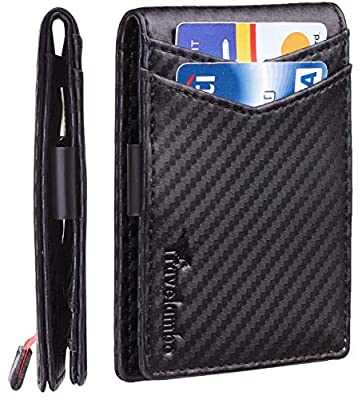 Travelambo Mens RFID Blocking Front Pocket Minimalist Slim Genuine Leather Wallet Pull Tab Money Clip (Carbon Fiber Black)