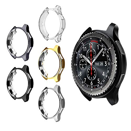 5 Pack Case for Samsung Gear S3/Galaxy Watch 46mm, Haojavo Soft TPU Plated Protective Bumper Shell Protector for Samsung Gear S3 Frontier/Classical & Galaxy Watch 46mm Smartwatch Bands Accessories