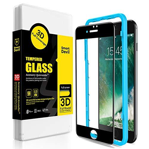 SmartDevil Protector Pantalla de iPhone 7 Plus/iPhone 8 Plus,Cristal Templado,Vidrio Templado [Fácil de Instalar] [3D Borde Redondo] para iPhone 7 Plus/iPhone 8 Plus