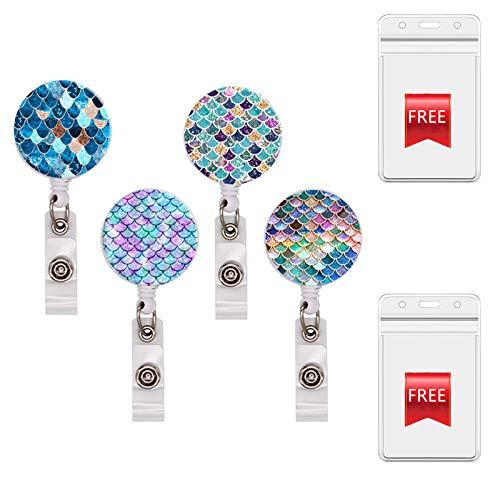 Nurse Badge Reel Decorative Badge Holder Retractable Badge Holder Carabiner Reel Clip Badge Reel,ID Badge Reels (4Mermaid+2holders)