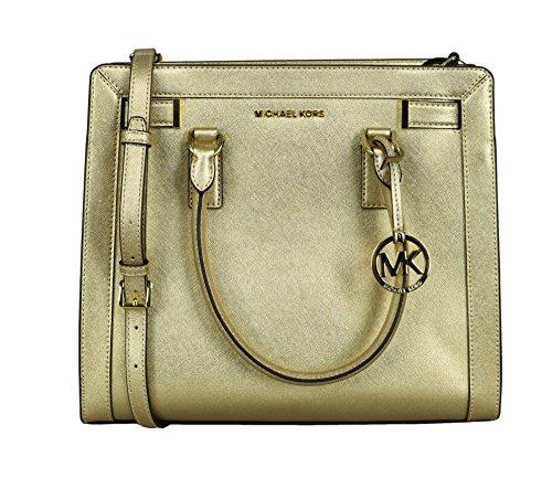 "Metallic Saffiano Leather,Gold Tone Hardware, Top Zip Closure Michael Kors Logo purse charm key fob hang tag One zippered pocket, Four multifunctional slip pockets,MK signature fabric lining 14"" (L) x 12"" (H) x 6"" (D),20""-24"" adjustable long strap Du..."