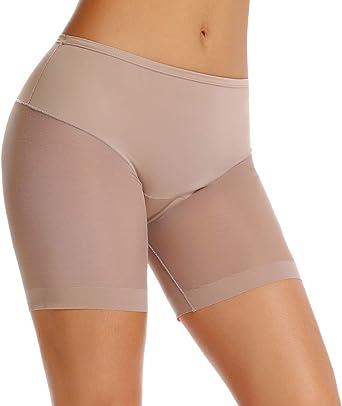WOWENY Women Slip Shorts for Under Dresses Anti Chafing Mid Waist Stretchy Seamless Cotton Boyshort Panties