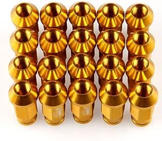 LILAUTO Racing Juego de 20 tuercas de tuerca de carreras de 50 mm color amarillo y dorado tama/ño M12