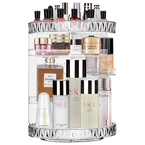 JessLab Organizador del Maquillaje, 360 Grados Ajustable Cosmético Organizador Maquillaje Almacenamiento Carrusel Cepillo Lápiz Labial Titular para Tocador de Baño, Multifunción y Gran Capacidad