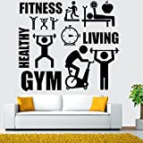 NEWSTARTS Gym Mur Autocollant Barbell Fitness Autocollant Body-bâtiment Chambre...