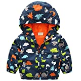 lymanchi Kids Baby Boy Casual Windbreaker Outerwear Dinosaur Printed Zipper Hooded Jackets Coat Navy Dinosaur 3T