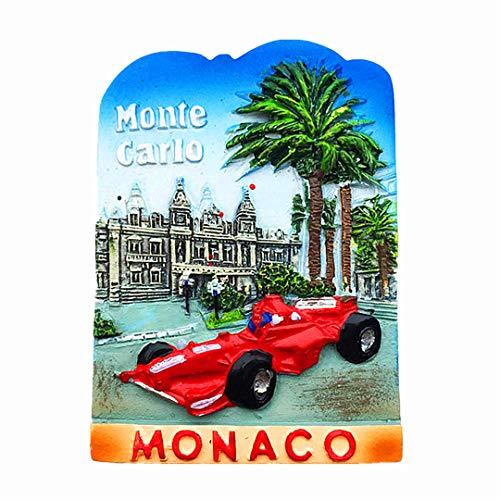 Hqiyaols Souvenir Monte Carlo Mónaco Refrigerador 3D Imán de Nevera Viaje Ciudad Recuerdos Colección Cocina Decoración Pizarra Blanca Etiqueta Resina