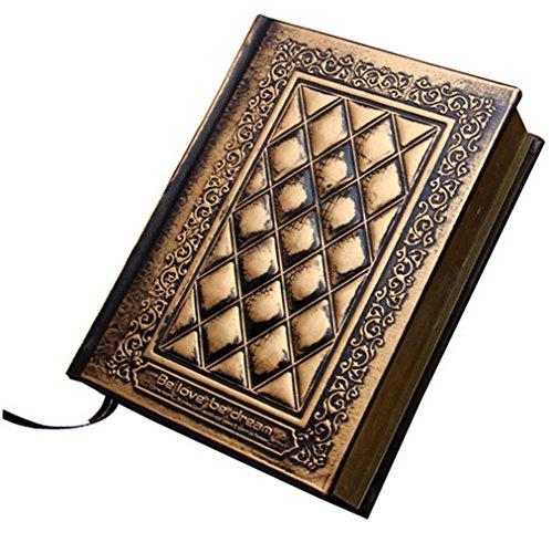 Knuffel Lederen Dikke Hardback Blank Notebook A5 Dagelijks Tekenen Schetsboek Scrapbook Schrijven Tijdschrift Werk Dagboek Brons