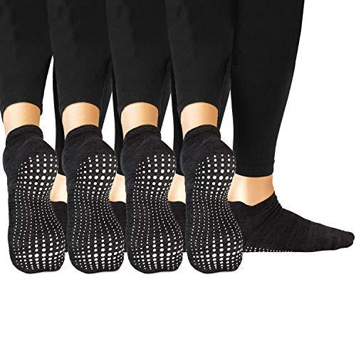 LA Active Grip Socken - 4 Paar - Yoga Pilates Barre Ballet Abs Noppen Rutschfeste (Schwarz, 37-40 EU)