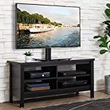 WAMPAT TV Stand for 55 inch TV Entertainment Center 50 inch Wood TV Console Media Cabinet with Storage for Living Room Bedroom, Black