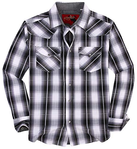 Rodeo Clothing Mens Casual Button Down Shirts Regular Fit Plaid Western Shirt 428