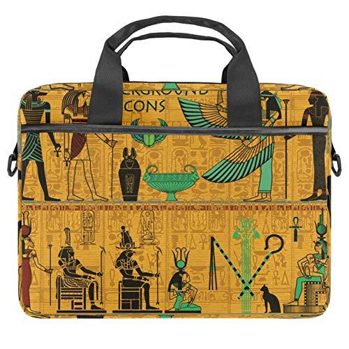 LORVIES Oude Egyptische Goederen Goud met Hiërogliefen Laptop Tas Schouder Messenger Tas Zakelijke Mouw Draaghandvat Tas voor 14 naar 15.4 inch Laptop Notebook