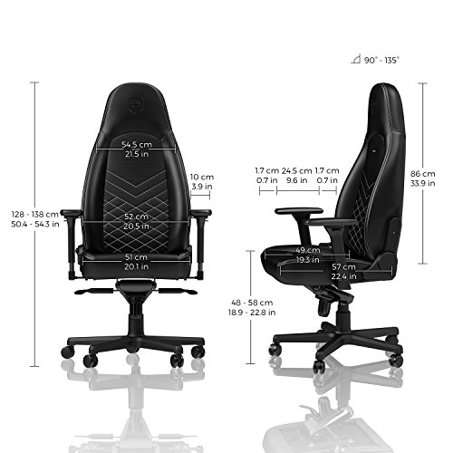 noblechairs ICON Gaming Chair - Office Chair - Desk Chair - PU Faux Leather - Ergonomic - Cold Foam Upholstery - 330 lbs - Racing Seat Design - Black/White