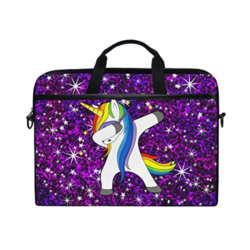 Laptop Case, Dabbing Unicorn with Stars Space Pattern Computer Sleeve Protective Bag 3 Layer with Durable Zipper for Lenovo Hp MacBook Pro Neoprene Notebook 14 15 15.4 inch