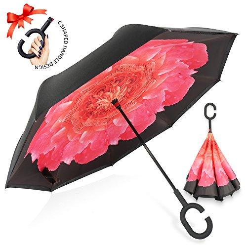ZOMAKE Inverted Stockschirme, Innovative Schirme Double Layer, Winddicht Regenschirm, Freie Hand,Umgedrehter Regenschirm mit C Griff für Auto Outdoor (Kamelie)