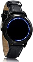 White & Blue LED Digital Touch Screen Watch, Classic Creative Fashion Faux Leather Band Wrist Watches