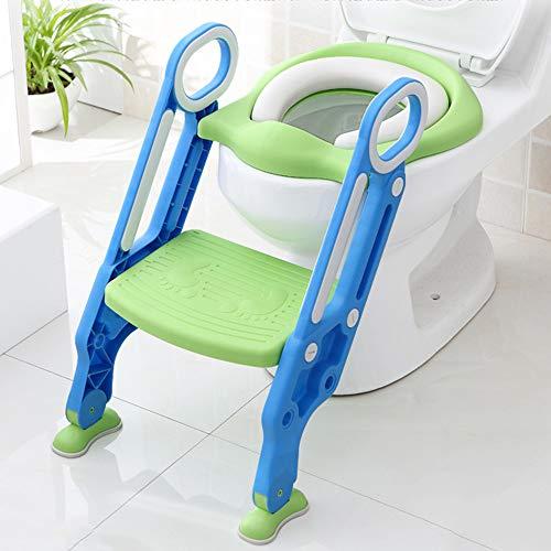 Toilettentrainer Kinder-Töpfchen Toilettensitz Trainer Sitz mit Treppe für Kinder Lerntöpfchen Toilettensitz Rutschfest stabil klappbar und höhenverstellbar (Blau + Grün)