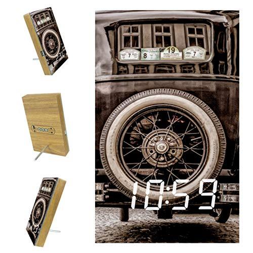 nakw88 Reloj despertador digital de coche antiguo para dormitorio, con puerto USB para cargar, oficina y decoración del hogar