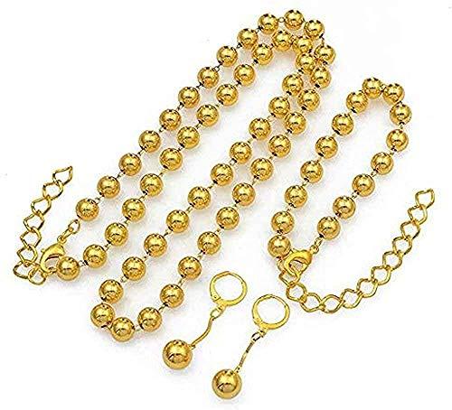 Yiffshunl Collar Collar de Perlas Pendientes de Moda Pulsera Conjunto de Joyas para Mujeres Cuentas de Bolas Color Dorado Collar de Regalo Nupcial Africano Etíope Africano