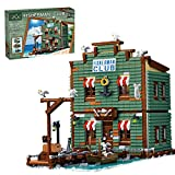 Sunery Juego de construcción de casa modular de Fischerclub para playa, vista de calles, casas, 3262 piezas de bloques de construcción, compatible con tienda de pesca Lego 21310