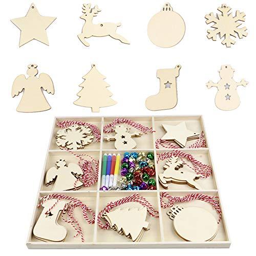 WDEC 32 Pcs Bolas Navidad Madera Copo de Nieve Colgante Rebanadas Adorno Decoración del Árbol Ventana Fiesta DIY Regalo, 4 Bolígrafos de Colores + 32 Cuerdas de Colores + 32 Campanas de Colores
